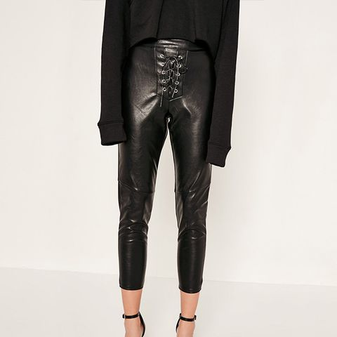 Faux Leather Lace Up Trousers