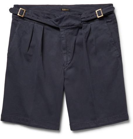 Rubinacci Manny Pleated Stretch-Cotton Twill Shorts