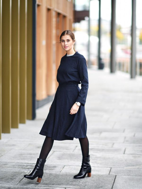 Style Notes: Update your co-ords for winter in a wool pinstripe, like Darja Barannik. You'll get so much wear out of this navy two-piece and the wool factor really does go the extra mile in...