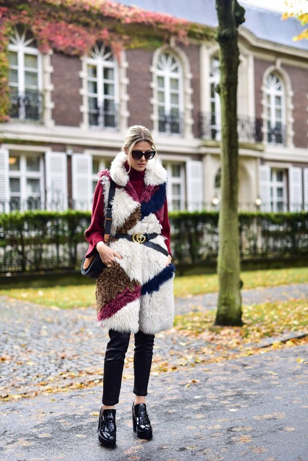 Style Notes: We haven't stopped dreaming about Sofie Valkierss gilet since we clapped eyes on it. A patchwork fusion of contrasting fur panels, it's the ultimate partner to thick knits...