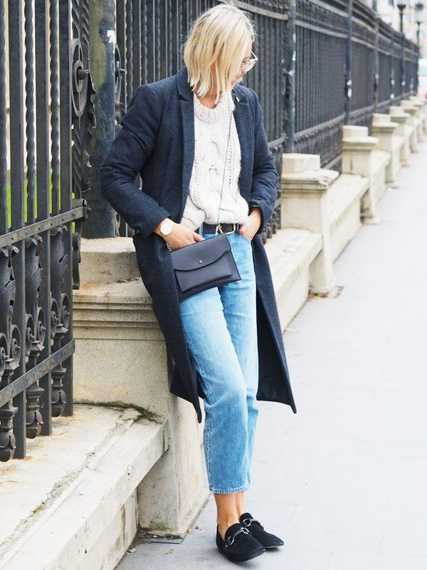 Style Notes: Alex Stedman loves a stonewash denim and chunky knit combo - topped off with a mannish coat, and it's easy to see why. This cable knit is neutral enough to go with everything...