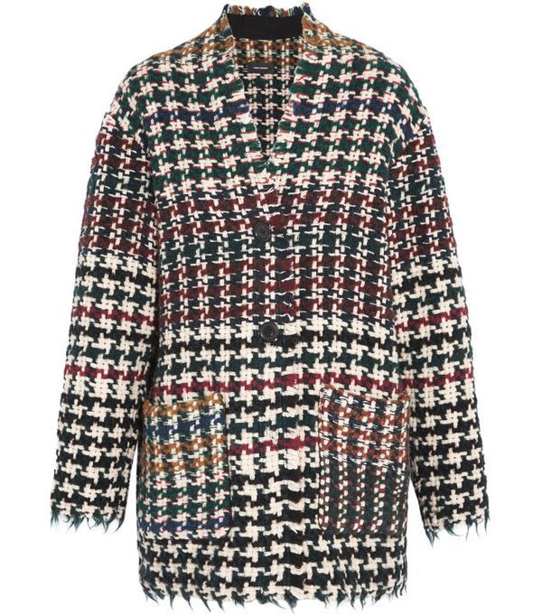 Diana Frayed Houndstooth Tweed Coat