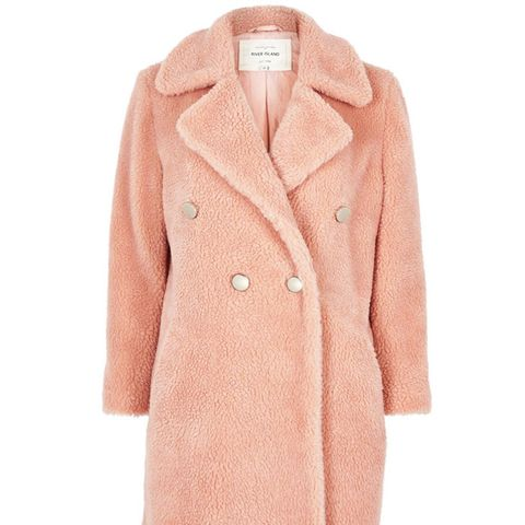 Pink Borg Double-Breasted Coat