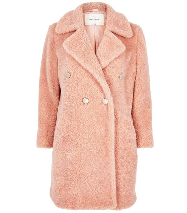 River Island Pink Borg Double-Breasted Coat