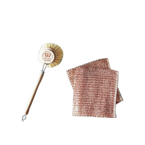 Woven Copper Dishcloth and Beechwood Dish Brush