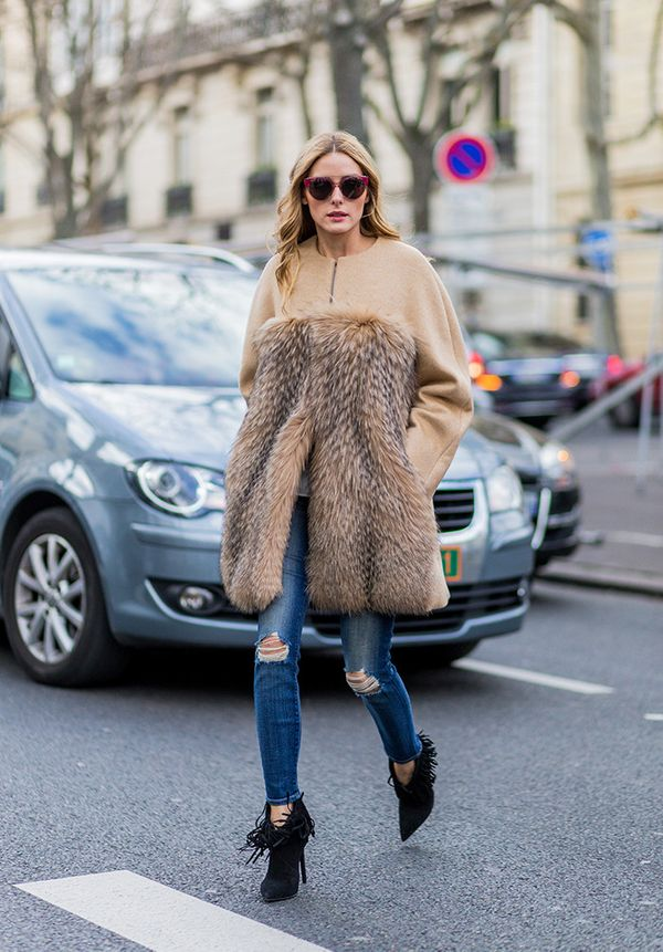 Furry Coat + Sweater + Skinnies + Boots