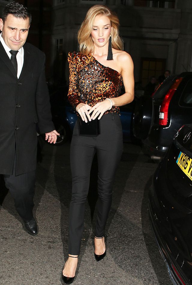 Rosie Huntington-Whiteley wearing party top and earrings