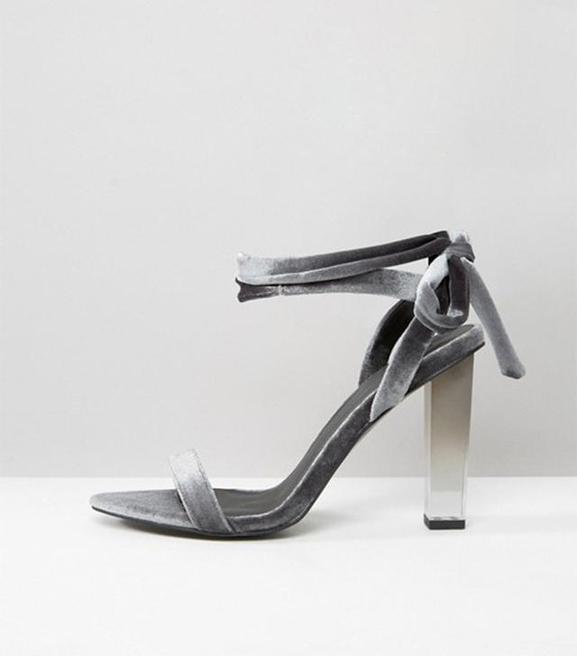 ASOS HOPE Velvet Clear Heeled Sandals