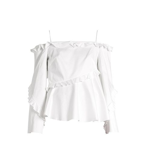 Cold-Shoulder Long-Sleeved Ruffle Top