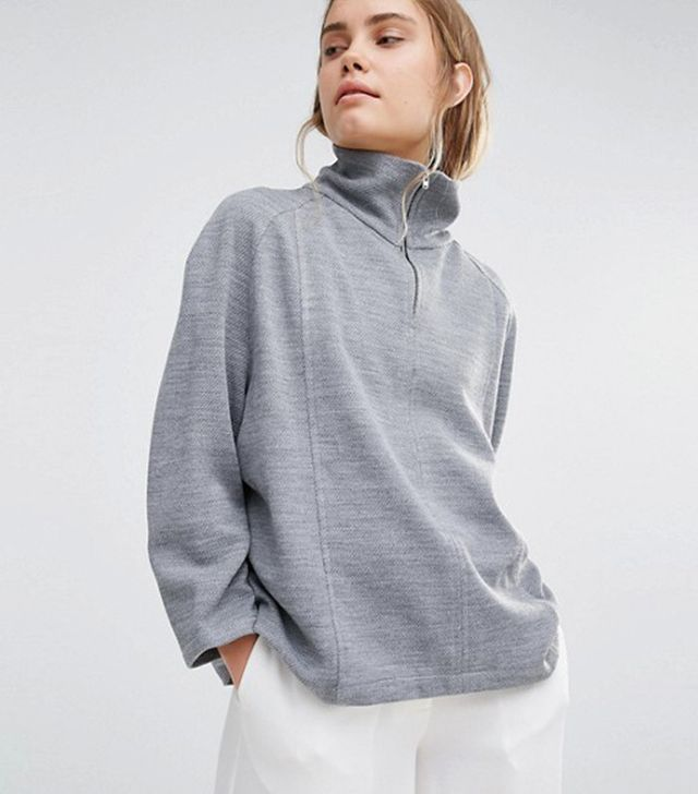 House Of Sunny High Neck Sweater With Zip Detail