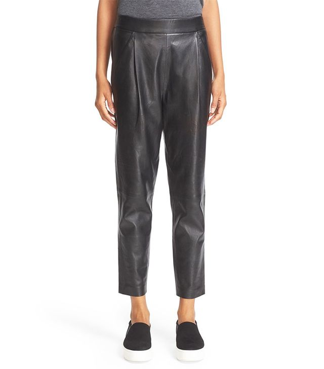 Vince Pleat Front Soft Leather Crop Pants