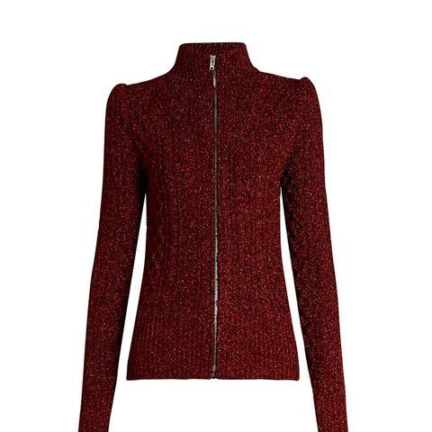 Dayley High-Neck Zip-Through Sweater