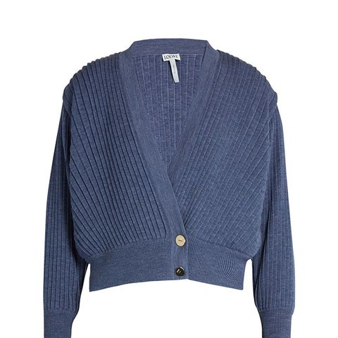 Pleated Cropped Wool Cardigan
