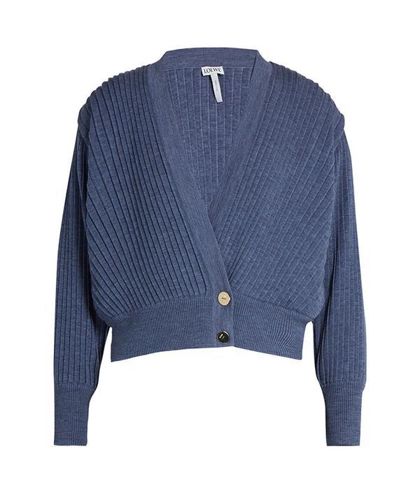 Loewe Pleated Cropped Wool Cardigan