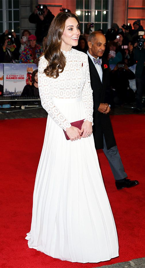 On the Duchess of Cambridge: Self-Portrait dress. Shop Similar: Self-Portrait Pleated Crochet Floral Maxi Dress(£320).