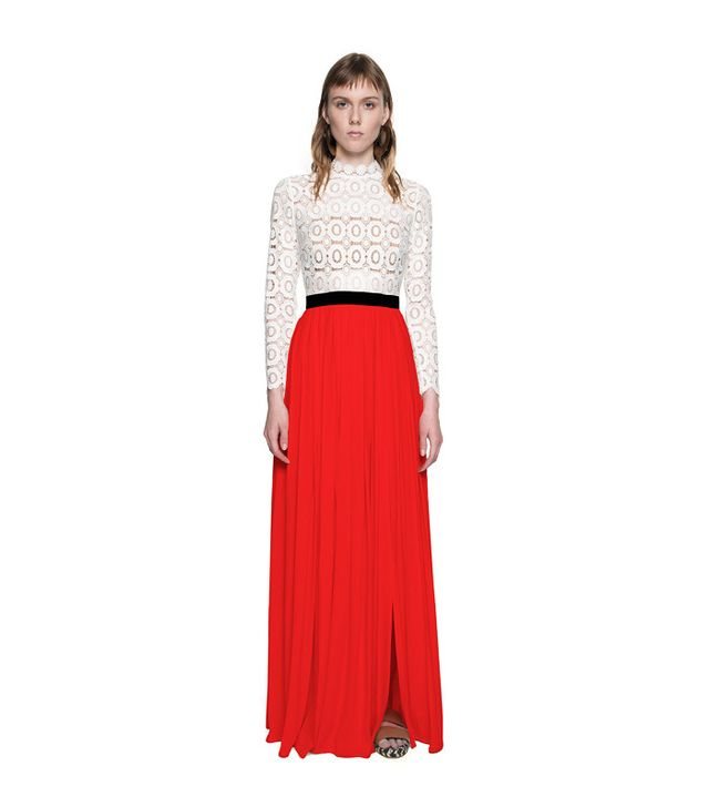 Self Portrait Pleated Crochet Floral Maxi Dress in Red