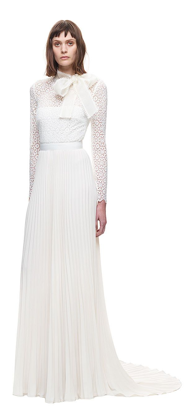 Self-Portrait Long Sleeve Gown with Pleated Skirt