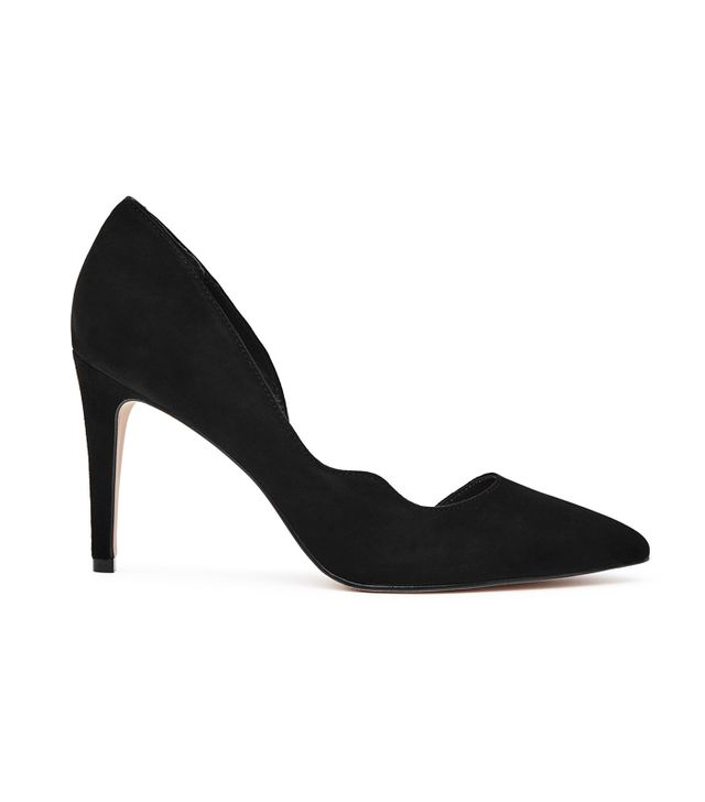 Reiss Bardot Black Curve-Detail Court Shoes