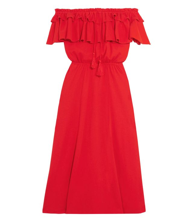 J.Crew Poppy Off-the-Shoulder Ruffled Cotton and Linen-Blend Dress