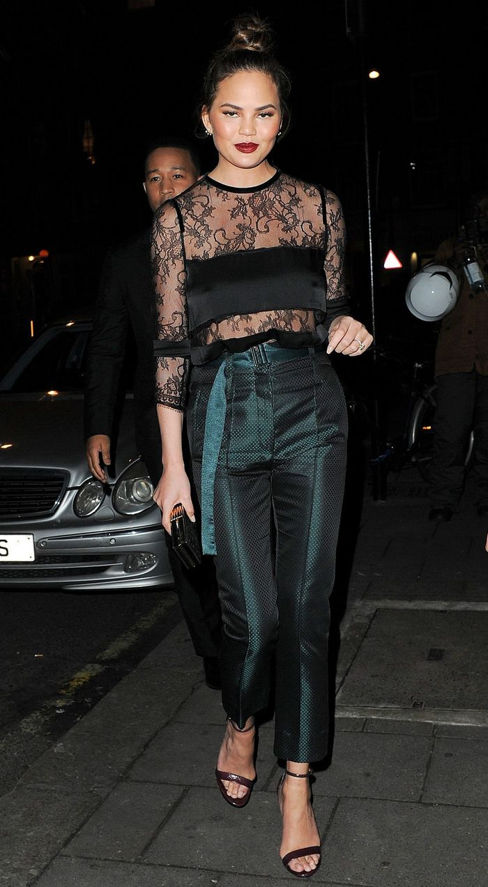 Chrissy Teigen Emanuel Ungaro Sheer Lace Top