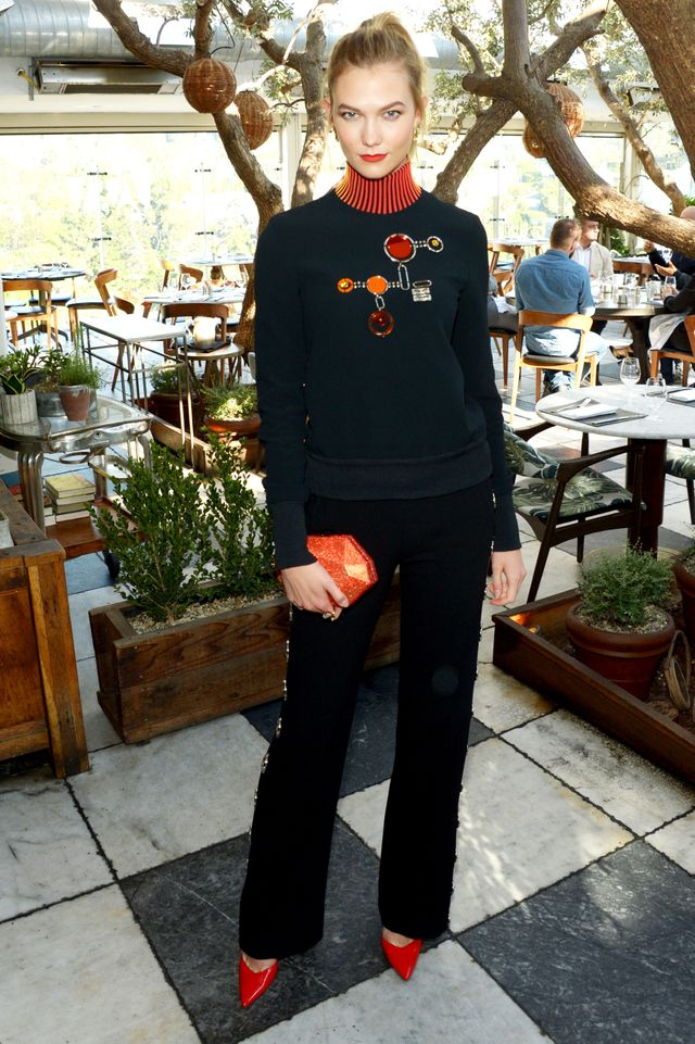 Karlie Kloss David Koma Turtleneck and Trouser and Matching Brain Atwood Shoes
