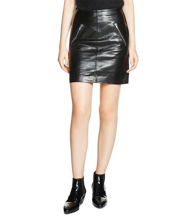 Maje Juice Leather Mini Skirt