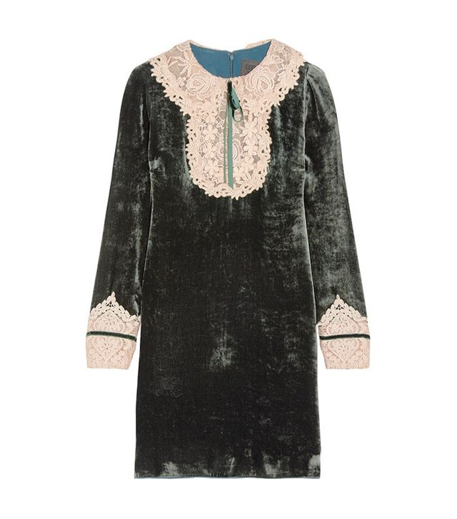 Anna Sui Croceted Velvet Mini Dress