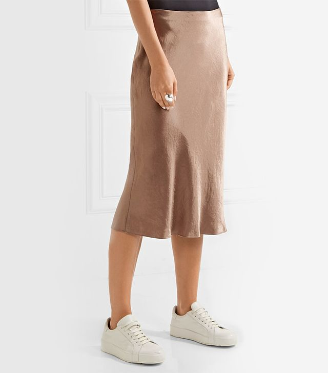 Vince Washed-Satin Midi Skirt
