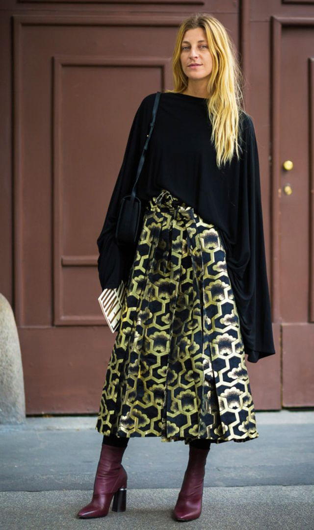 gold print skirt and boots street style