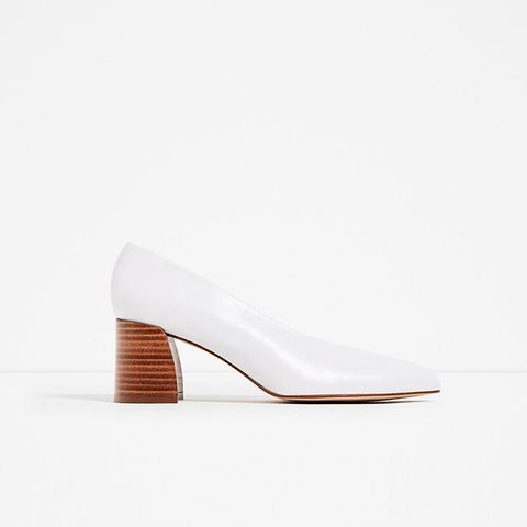 Leather Mid Heel Shoes