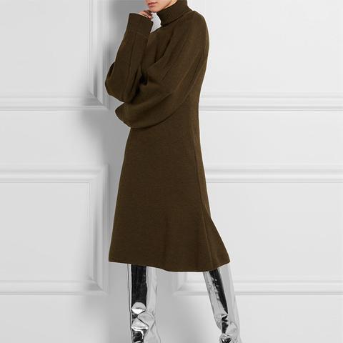 Stretch Wool-Blend Sweater Dress