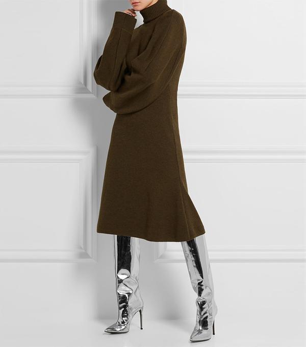 Balenciaga Stretch Wool-Blend Sweater Dress
