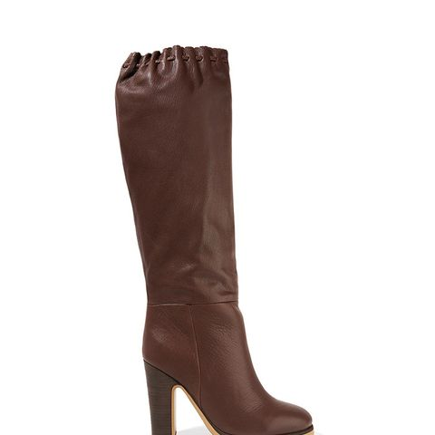 Scalloped Textured-Leather Knee Boots