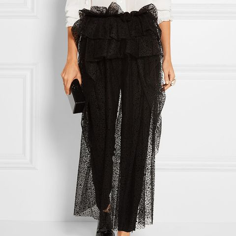 Layered Flocked Tulle Midi Skirt