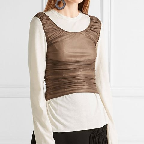 Ruched Mesh-Paneled Cotton and Silk-Blend Top