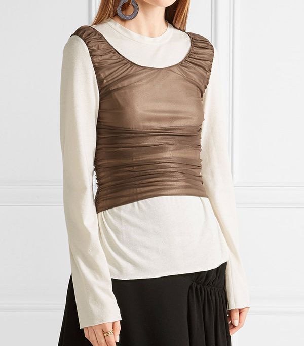Loewe Ruched Mesh-Paneled Cotton and Silk-Blend Top