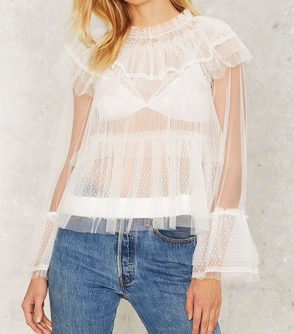 Nasty Gal Tulle For Your Lovin' Ruffle Blouse