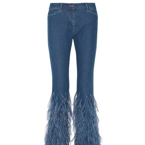Feather-Trimmed Flared Jeans