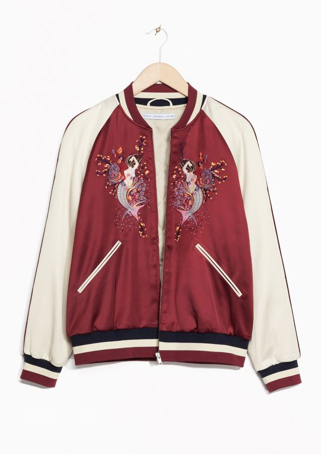 & Other Stories Embroidered Bomber Jacket