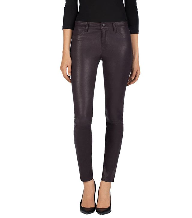 J Brand Mid-Rise Stretch Leather Pants