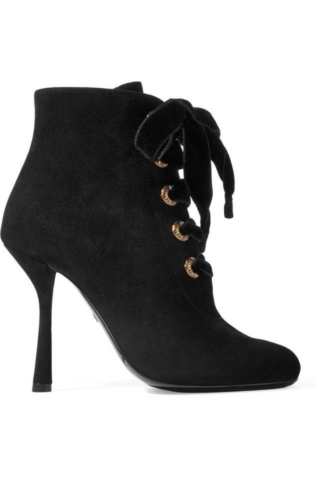 Lanvin Lace-Up Suede Ankle Boots