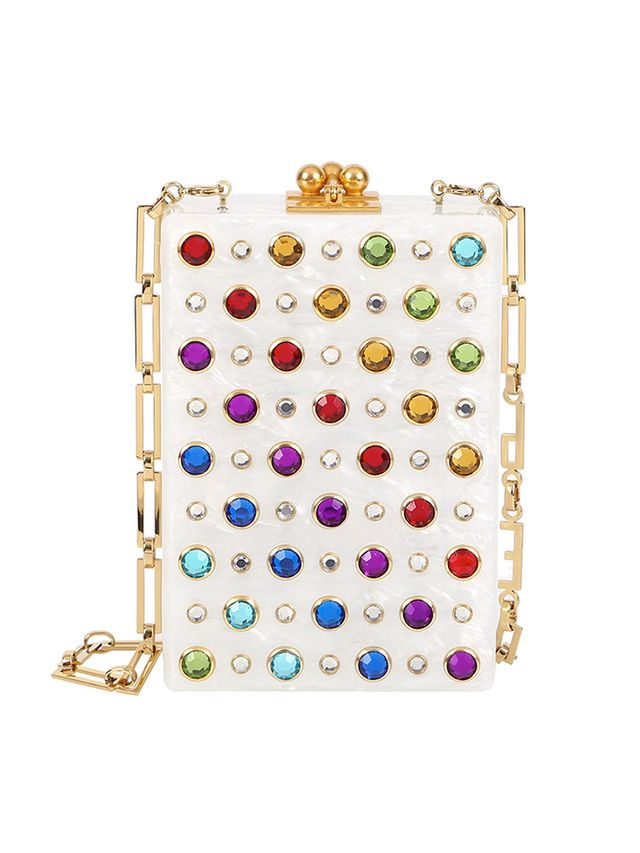 Edie Parker Carol Rainbow Stud Clutch Bag