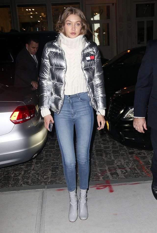 Gigi is proof that skinny jeans are never dying—they're totally a classic and can be dressed up or down for any occasion.