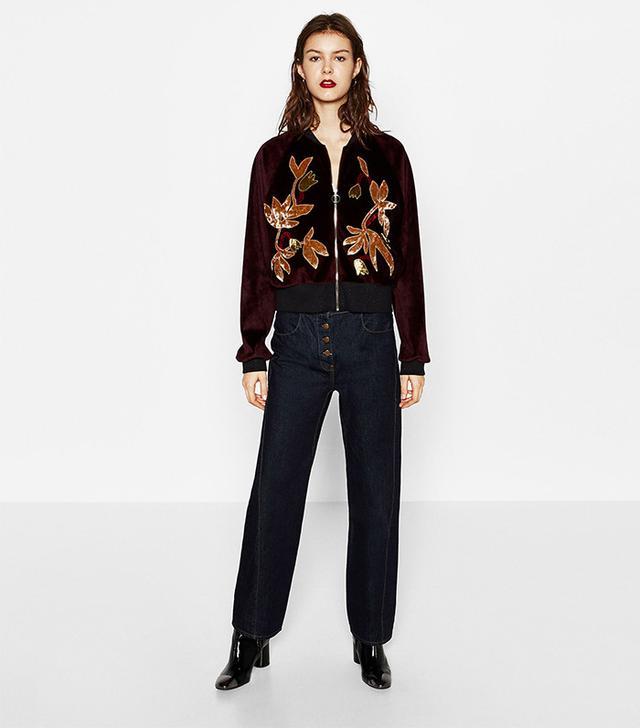 Zara Patchwork Velvet Jacket