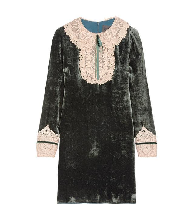 Anna Sui Croceted Velvet Mini Dress