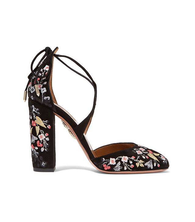 Aquazzura Karlie Embroidered Suede Pumps