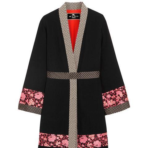 Jacquard-Trimmed Wool-Crepe Jacket