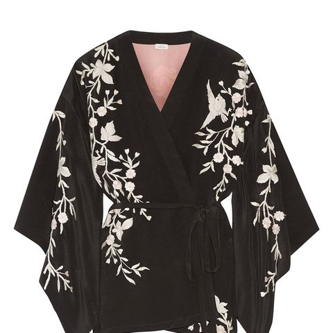 Embroidered Silk-Crepe Kimono Jacket