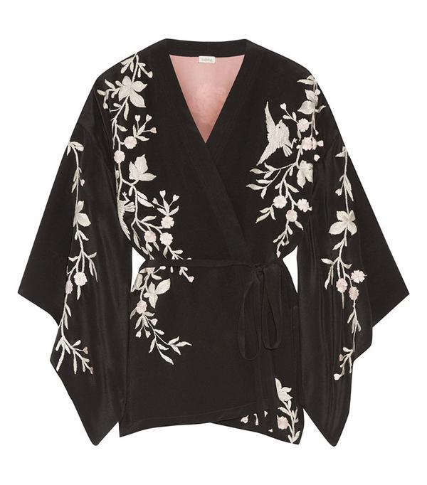 Talitha Embroidered Silk-Crepe Kimono Jacket