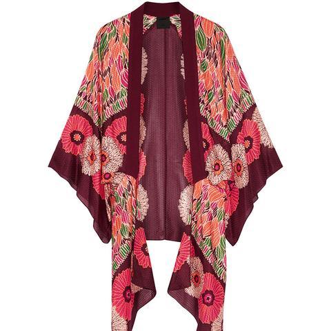 Poppy Buds Printed Cotton and Silk-Blend Kimono